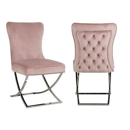 Scarlett rózsaszín bársonyszék ezüst lábakkal - 93,5 cm