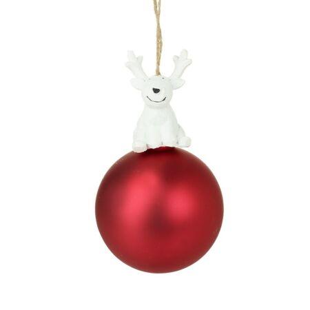 Rénszarvasos karácsonyfadísz 8x8x14cm - apró szépséghibás