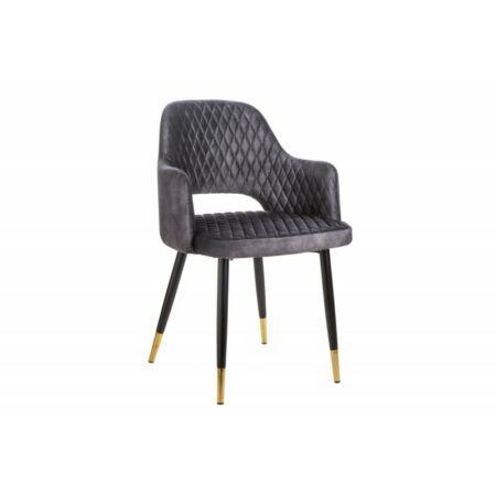 Paris bársony sötétszürke szék - 2 db