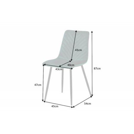 Sebastian bársony szék - szürke - 4 darab