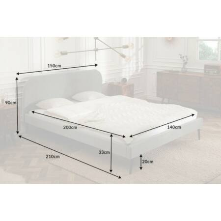 Famous bársony ágy 140 x 200 cm - szürke