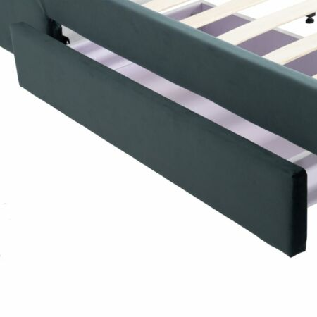 Lara bársonyos ágy 200 cm tárolóval - sötét-türkiz