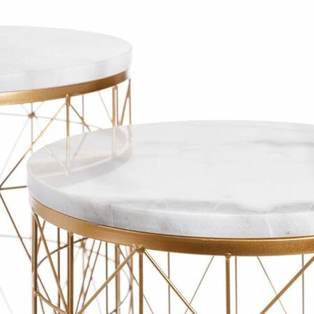 Sonia arany dohányzóasztal szett fehér márvány asztallappal - 52 cm