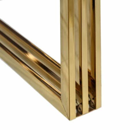 Selena arany dohányzóasztal üveg asztallappal - 90 cm