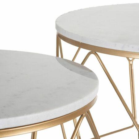 Aina arany - fehér márvány dohányzóasztal 2 db-os szett - 80 cm