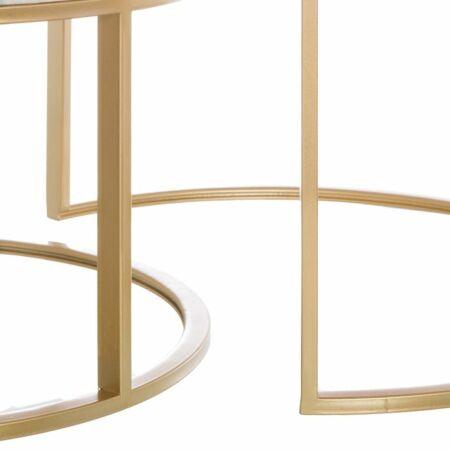 Marco arany - fehér márvány dohányzóasztal 2 db-os szett - 79 cm