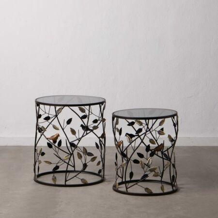 Elia fekete-arany díszített dohányzóasztal szett üveg asztallappal - 50 cm