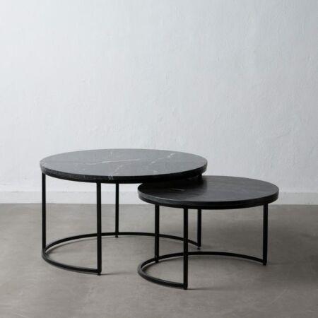 Marco fekete márvány dohányzóasztal 2 db-os szett - 75 cm