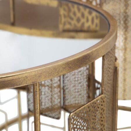 Diora arany díszített dohányzóasztal szett üveg asztallappal - 60 cm
