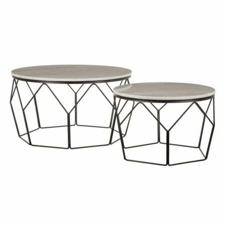 Aina fekete - fehér márvány dohányzóasztal 2 db-os szett - 80 cm
