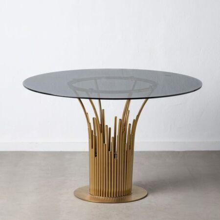 Leida arany étkezőasztal üveg asztallappal - 120 cm