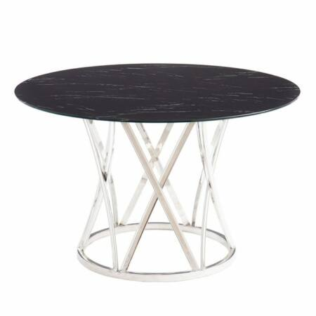 Marbella ezüst étkezőasztal üveg asztallappal - 120 cm