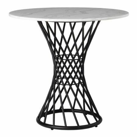 Leon fekete étkezőasztal márvány asztallappal - 75,5 cm