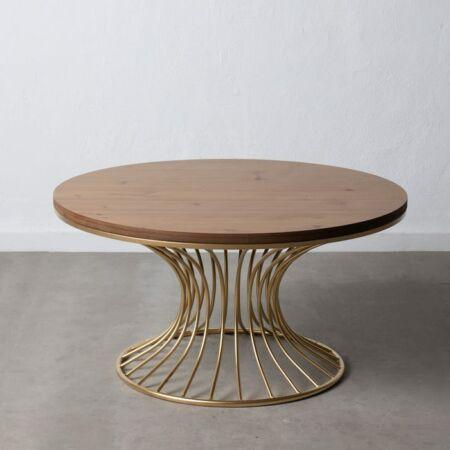 Adella arany dohányzóasztal fa asztallappal - 93 cm
