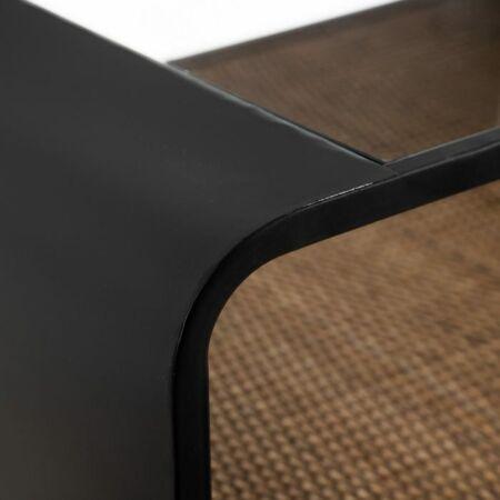 Luna fekete dohányzóasztal üveglappal és rattannal - 68,5 cm