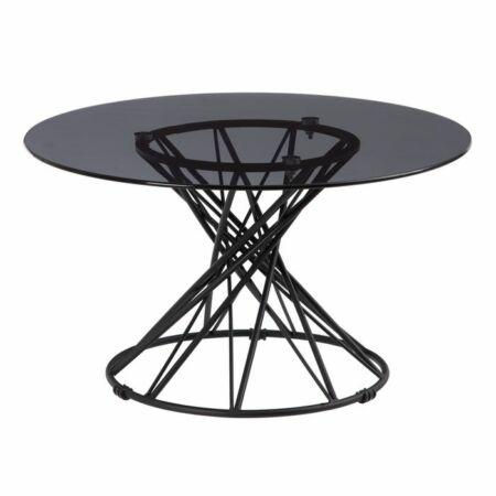 Girona fekete dohányzóasztal üveg asztallappal - 70 cm
