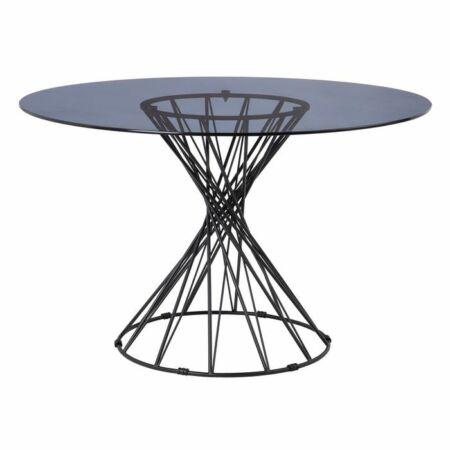 Girona fekete étkezőasztal üveg asztallappal - 120 cm