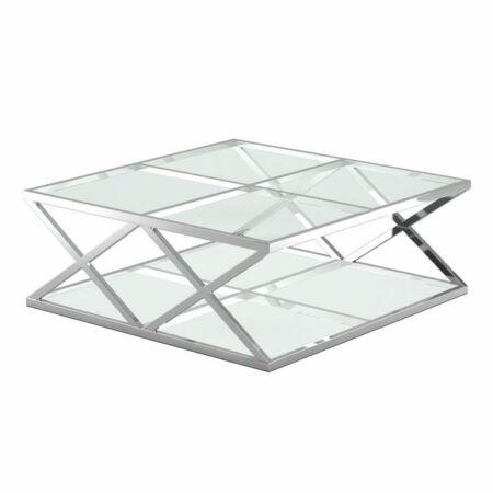 Gloria ezüst dohányzóasztal üveg asztallapokkal - 115 cm
