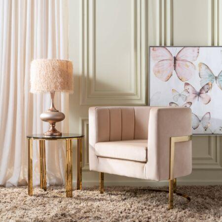 Charlotte bársony fotel - beige