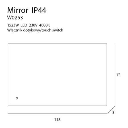 MIRROR megvilágított tükör - méretek
