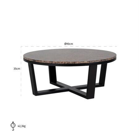 Dalton márvány dohányzóasztal fekete lábbal - 90 cm