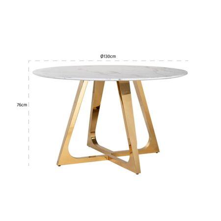 Dynasty fehér márvány - arany asztal - 130 cm