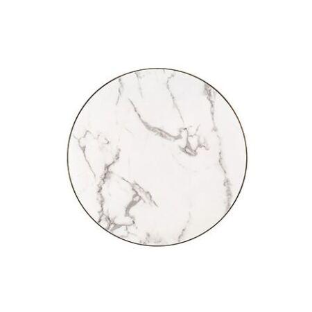 Odin fehér márvány dohányzóasztal fekete lábbal - 80 cm