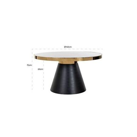Odin fehér márvány - arany - fekete asztal - 140 cm