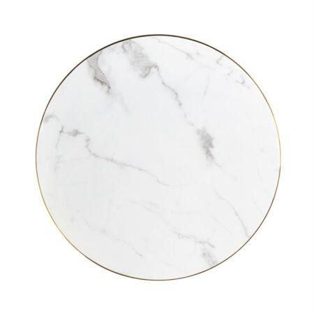 Delia fehér márvány dohányzóasztal fekete-arany lábbakkal - 80 cm