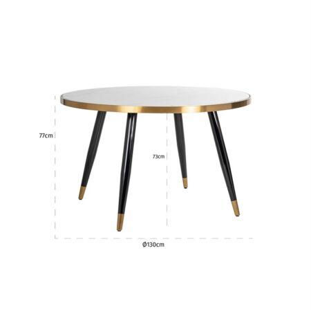 Delia fehér márvány - arany - fekete asztal - 130 cm