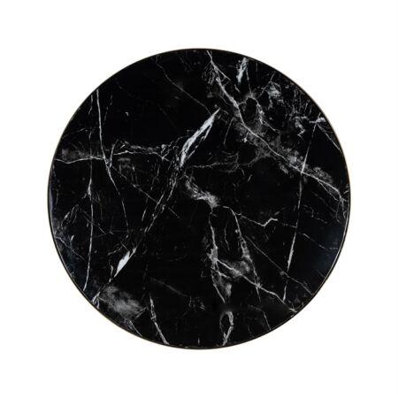 Iroca fekete márvány dohányzóasztal ezüst lábbal - 90 cm