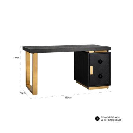 Blackbone arany - fekete íróasztal - 150 cm