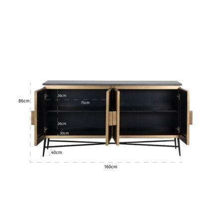 Ironville négyajtós szekrény fekete márvány - arany - 160 cm