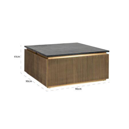 Ironville fekete márvány - arany dohányzóasztal négyzet alakú - 90 cm