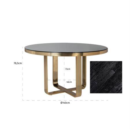 Vendome fekete márvány - arany asztal - 140 cm
