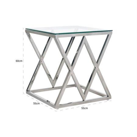 Paramount üveg - ezüst dohányzóasztal - 60 cm