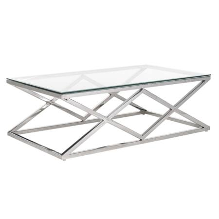 Paramount üveg-ezüst dohányzóasztal - 120 cm