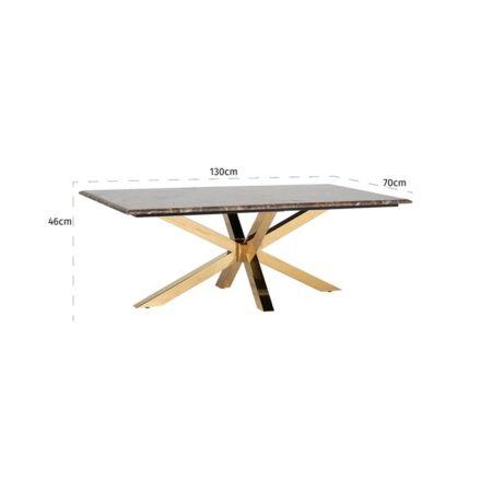 Conrad márvány dohányzóasztal arany lábakkal - 130 cm