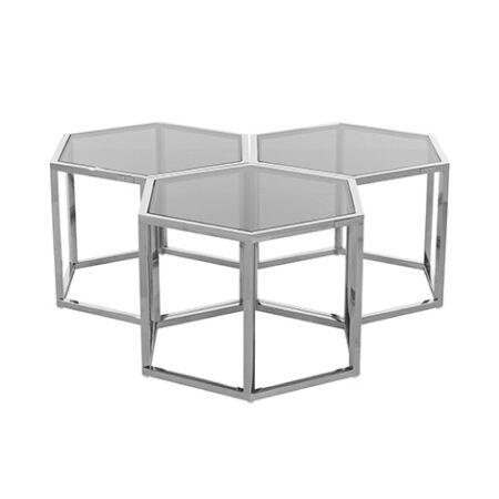 Penta üveg dohányzóasztal 3 db-os szett ezüst lábakkal - 60 cm