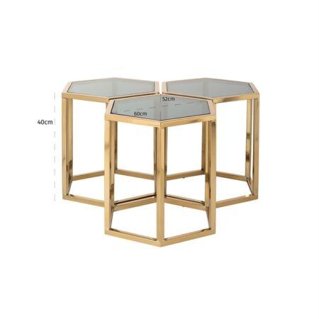 Penta üveg dohányzóasztal 3 db-os szett arany lábakkal - 60 cm