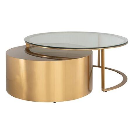 Orlan üveg-arany dohányzóasztal szett - 105 cm