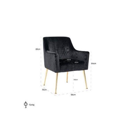 Harper fekete bársony fotelszék arany lábakkal - 87 cm