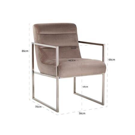 Rosa világos khaki bársony fotelszék ezüst lábakkal - 86 cm