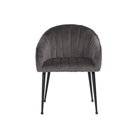 Coco sötétszürke bársony fotelszék fekete lábakkal - 93cm