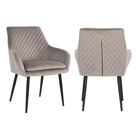 Chrissy világos khaki bársony fotelszék fekete lábakkal - 86,5 cm