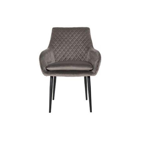 Chrissy sötétszürke bársony fotelszék fekete lábakkal - 86,5 cm