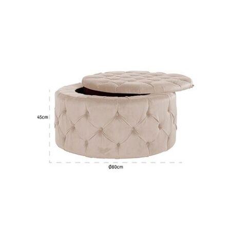 Lulu puff tárolóval - világos khaki szín - 80 cm