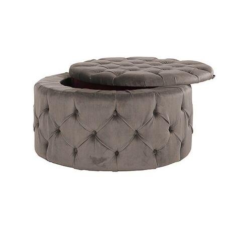 Lulu puff tárolóval - sötétszürke szín - 80 cm