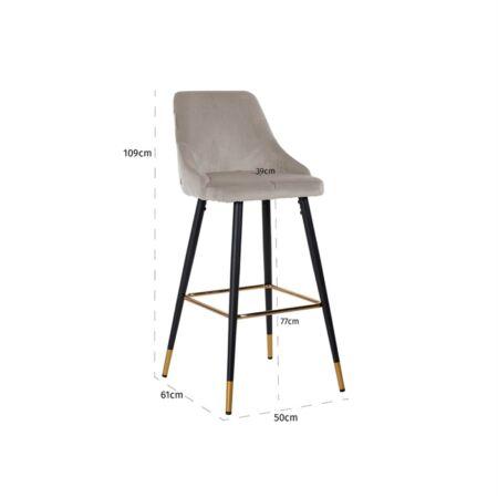 Imani világos khaki bársony bárszék fekete-arany asztallábakkal - 109 cm