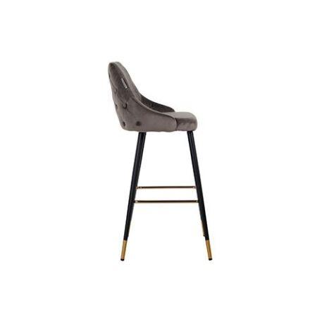 Imani sötétszürke bársony bárszék fekete-arany asztallábakkal - 109 cm